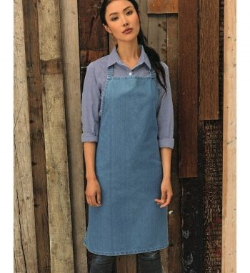Premier Denim Bib Apron Without Pocket PR150 Light Blue Denim Colour