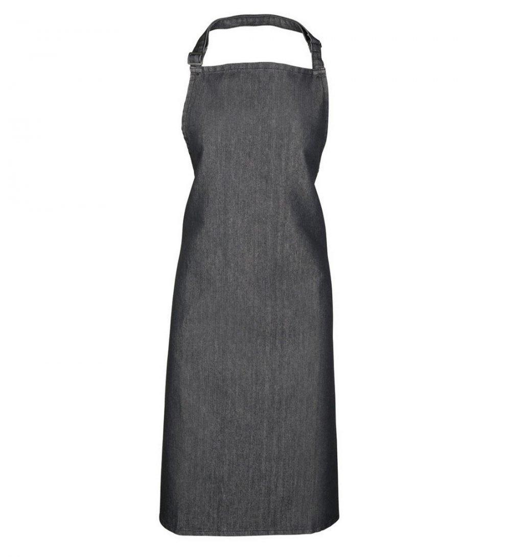 PPG Workwear Premier Denim Bib Apron Without Pocket PR150 Black Denim Colour