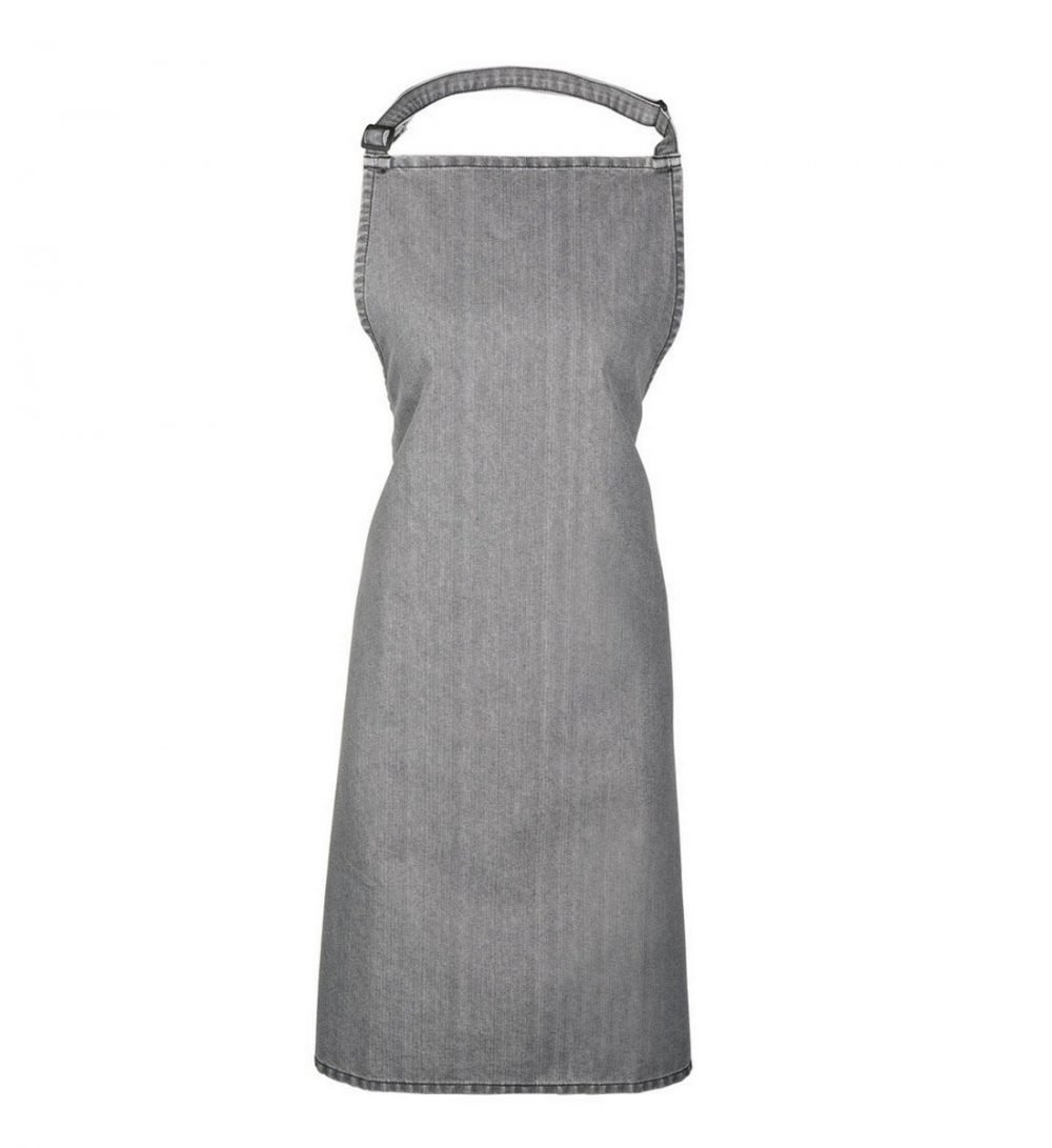Premier Denim Bib Apron Without Pocket PR150 Grey Denim Colour