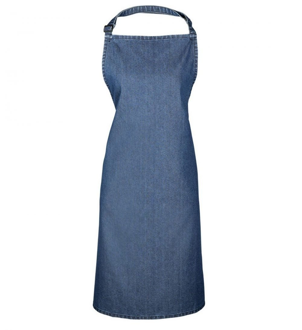 PPG Workwear Premier Denim Bib Apron Without Pocket PR150 Indigo Denim Colour