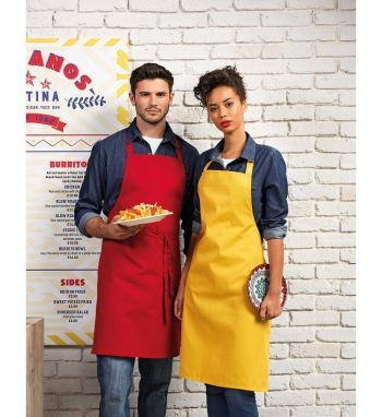 Premier Colours Bib Apron Without Pocket PR150 Two Aprons Red and Mustard Colours