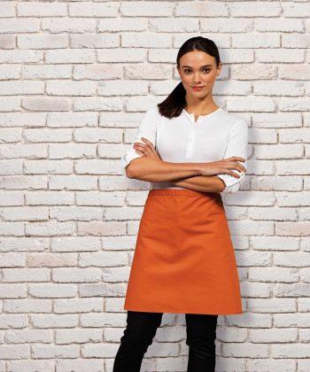 PPG Workwear Premier Colours Mid Length Waist Apron Without Pocket PR151 Terracotta Colour
