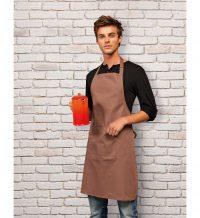 PPG Workwear Premier Colours Bib Apron With Pocket PR154 Mocha Colour