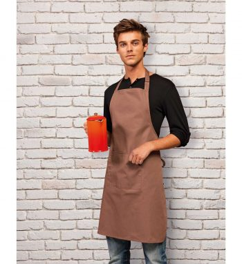 PPG Workwear Premier Colours Bib Apron With Pocket PR154 Mocha Colour