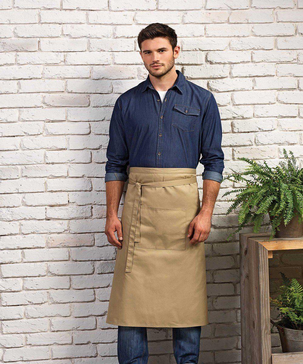 PPG Workwear Premier Colours Waist Apron With Pocket PR158 Khaki Colour