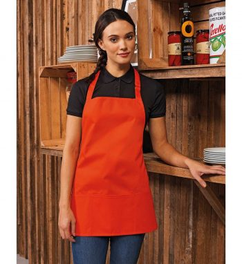Premier Coulours 2 in 1 Bib Apron With Pocket PR159 Orange Colour Bib Image