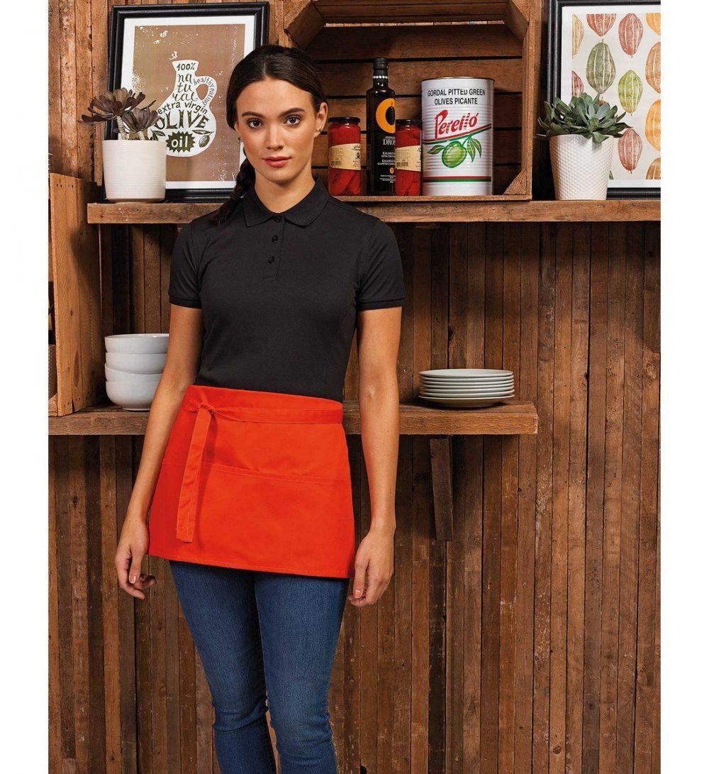 PPG Workwear Premier Colours 2 in 1 Bib Apron With Pocket PR159 Orange Colour Waist Image