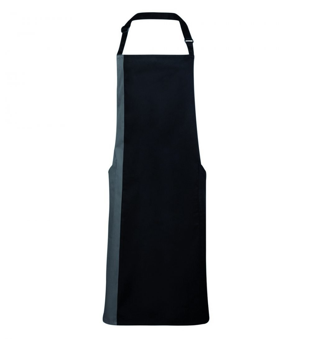Premier Contrast Bib Apron PR162 Black and Dark Grey Colour