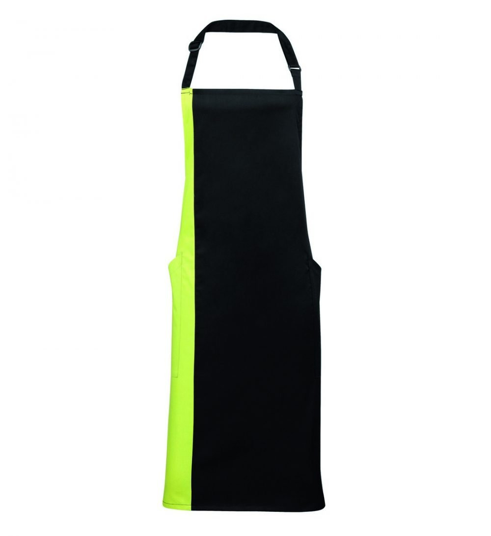 Premier Contrast Bib Apron PR162 Black and Lime Colour