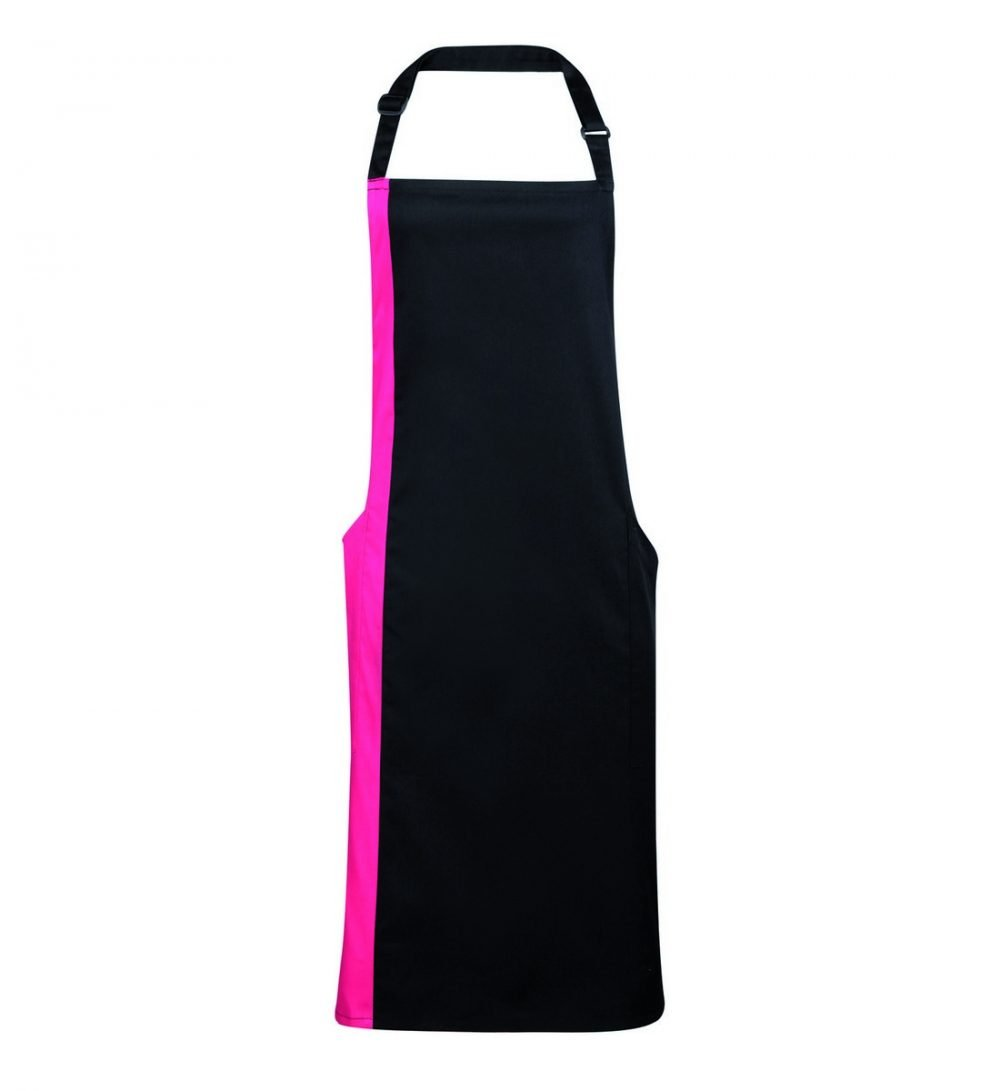 PPG Workwear Premier Contrast Bib Apron PR162 Black and Hot Pink Colour