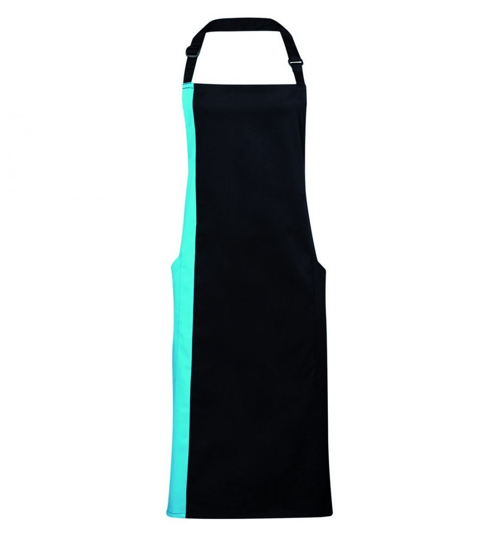 Premier Contrast Bib Apron PR162 Black and Turquoise Colour