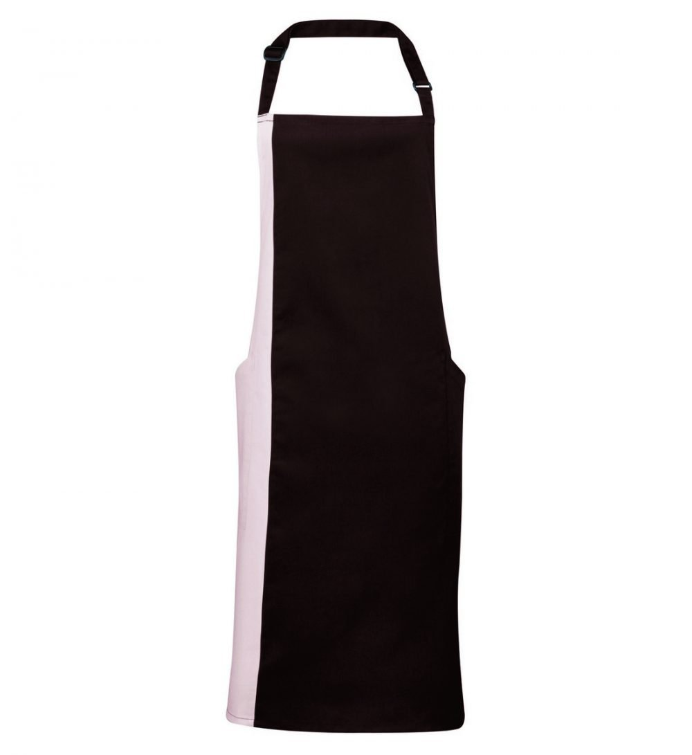 Premier Contrast Bib Apron PR162 Brown and Natural Colour