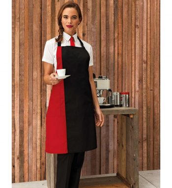 PPG Workwear Premier Contrast Bib Apron PR162 Black and Red Colour
