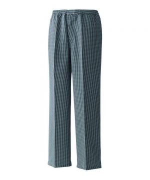 Premier Pull On Black Check Chefs Trousers PR552