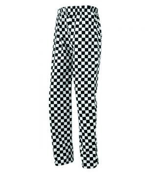 PPG Workwear Premier Essential Black & White Check Chefs Trousers PR553
