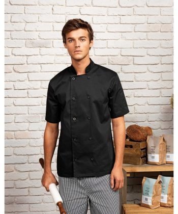 PPG Workwear Premier Short Sleeve Chefs Jacket PR656 Black Colour