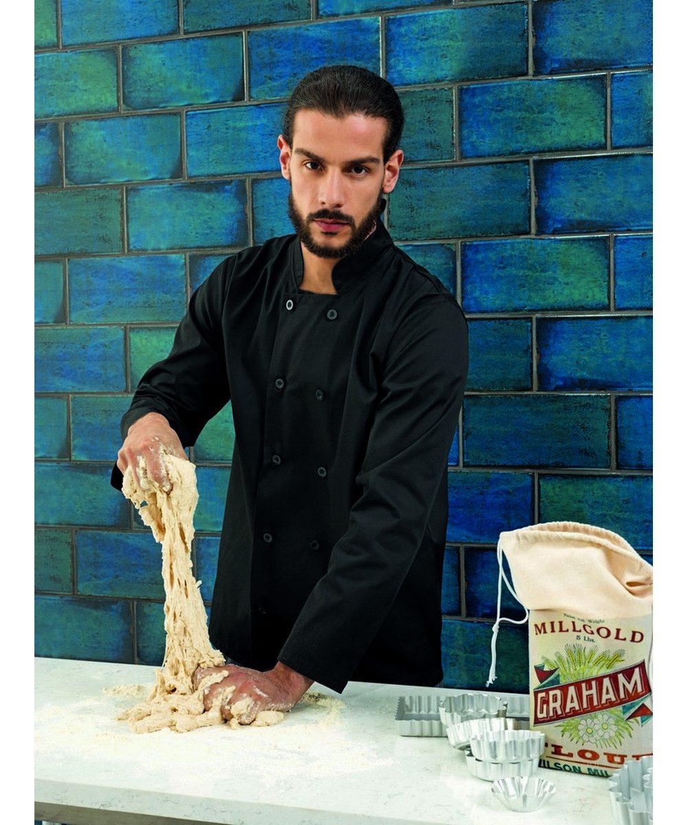 Premier Long Sleeve Chefs Jacket PR657 Black Colour
