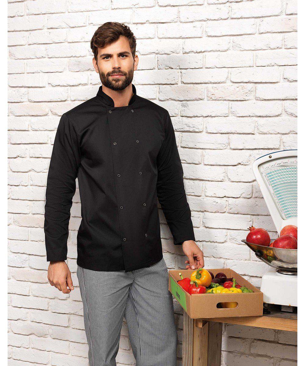 Premier Long Sleeve Stud Front Chefs Jacket PR665 Black Colour