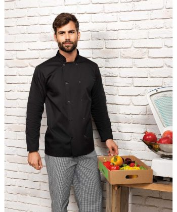 Premier Long Sleeve Stud Front Chefs Jacket PR665 Black Colour
