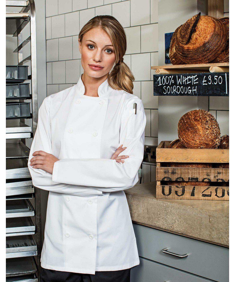 Premier Ladies Long Sleeve Chefs Jacket PR671 White Colour with Pen Pocket