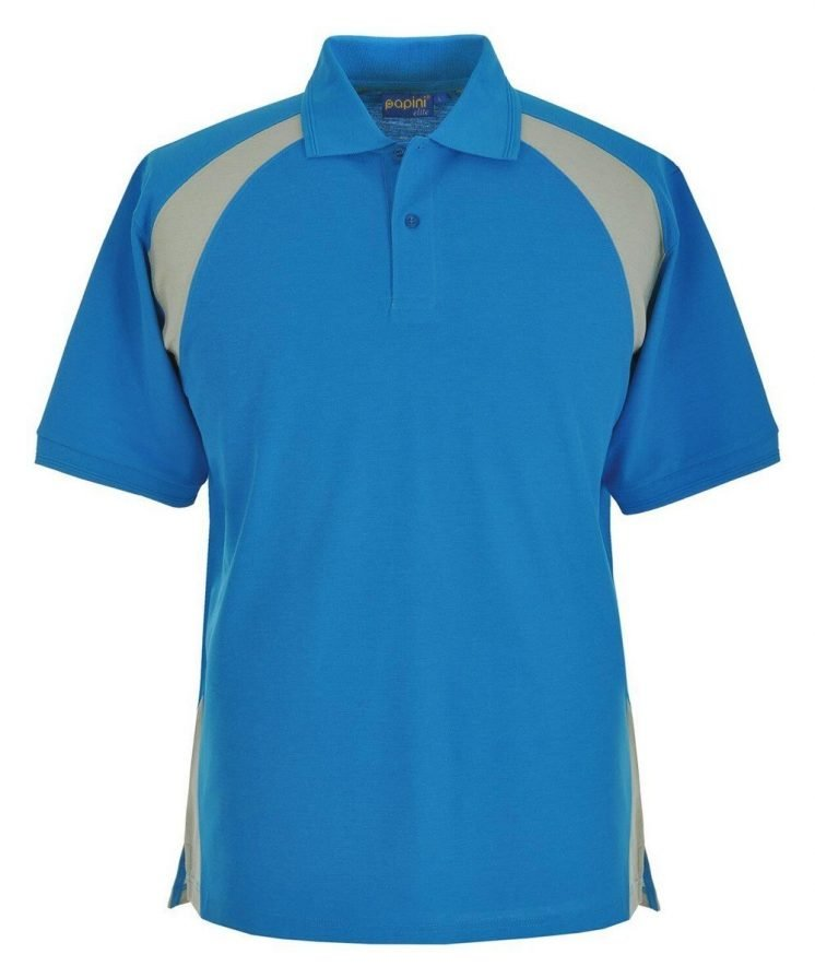 Papini Elite Polo Shirt EL1 Cyan and Silver Grey Colour