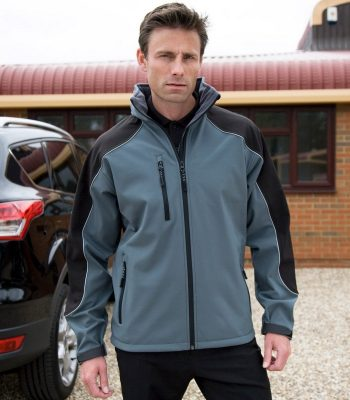 PPG Workwear Result Work-Guard Hooded Softshell Jacket R118X Grey and Black Colour