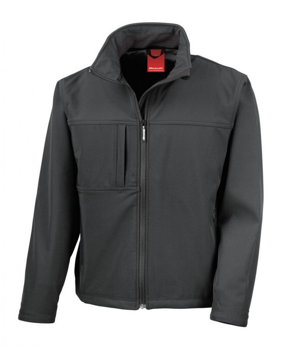PPG Workwear Result Classic Mens Softshell Jacket R121M Black Colour