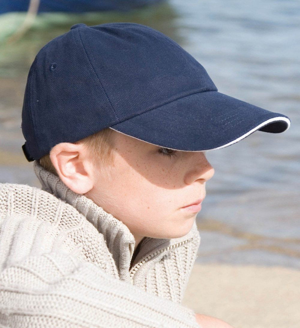 Result Childrens Low Profile Cap With Sandwich Peak RC24PJ Model Wearing Cap