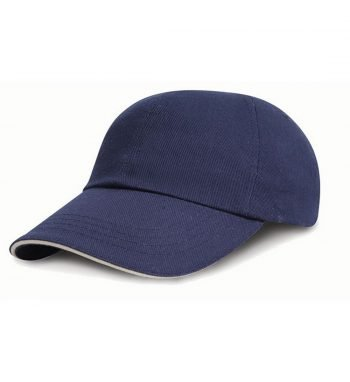 Result Childrens Low Profile Cap With Sandwich Peak RC24PJ Navy Blue and White Colour