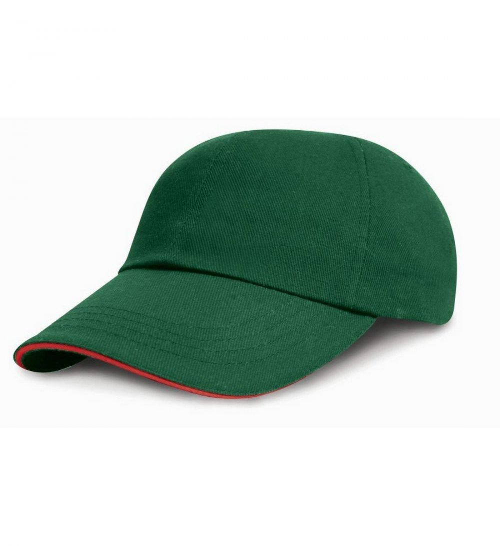 Result Low Profile Cap With Sandwich Peak RC24P Green and Red Colour