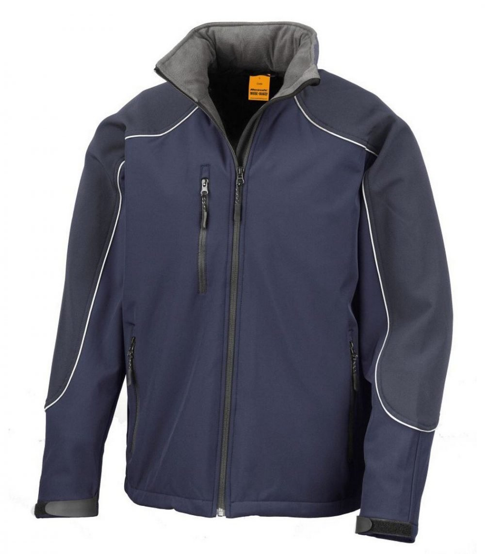 PPG Workwear Result Work-Guard Hooded Softshell Jacket R118X Navy Blue Colour