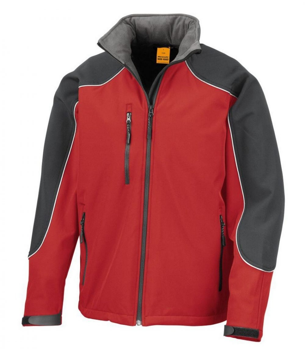 PPG Workwear Result Work-Guard Hooded Softshell Jacket R118X Red and Black Colour