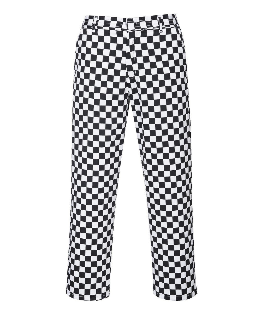 Portwest Harrow Blackand White Colour Chessboard Chefs Trousers S068