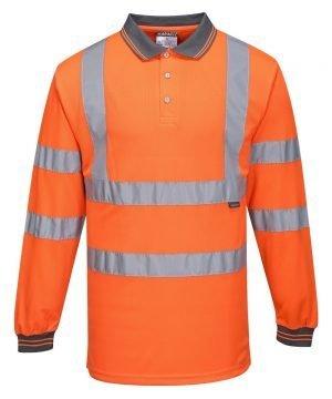 Portwest Hi Vis Orange Colour Long Sleeved Polo Shirt S277