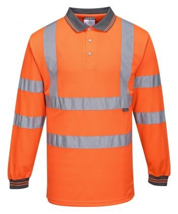 Portwest Hi Vis Orange Colour Long Sleeved Polo Shirt S277