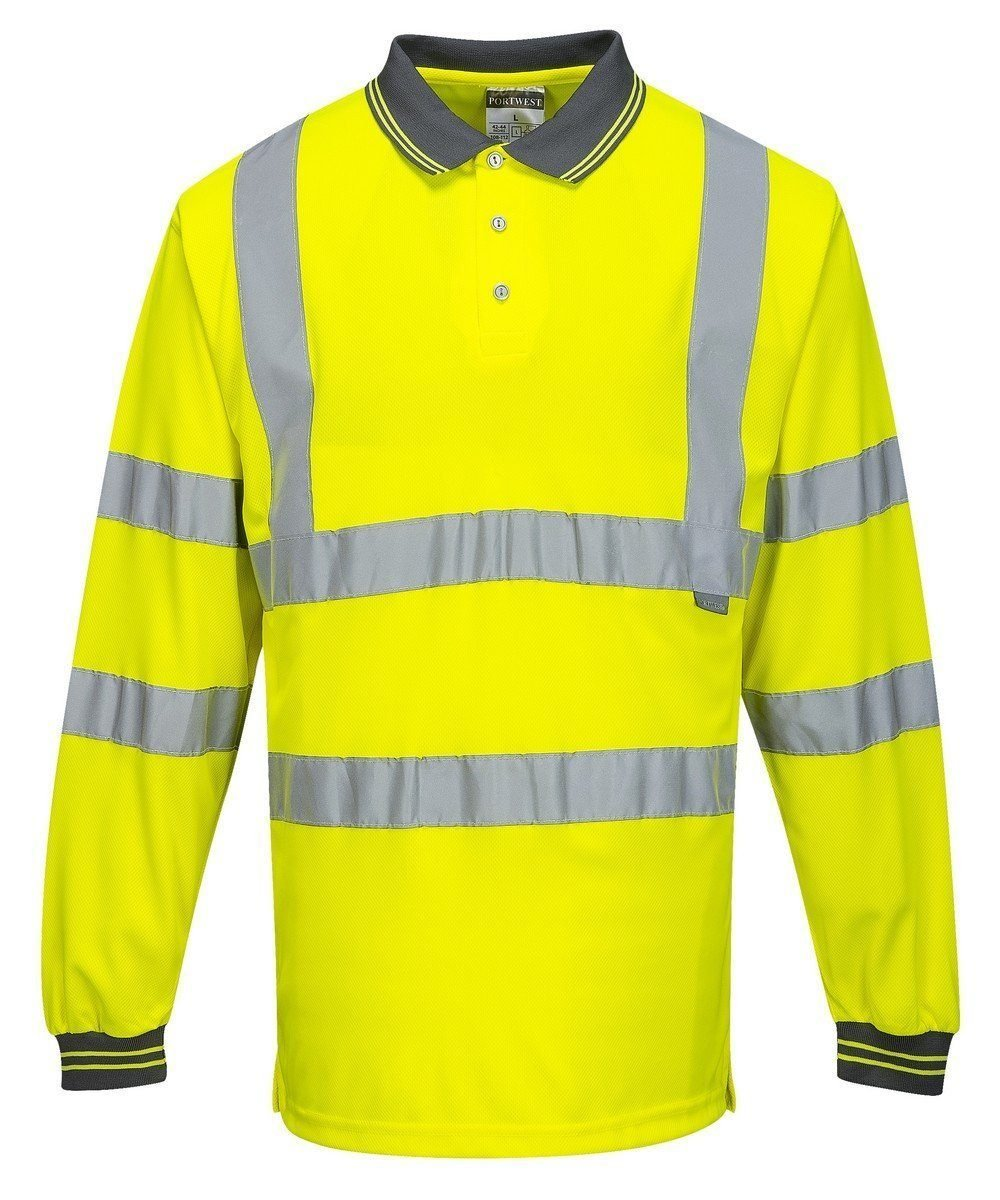 PPG Workwear Portwest Hi Vis Yellow Colour Long Sleeved Polo Shirt S277
