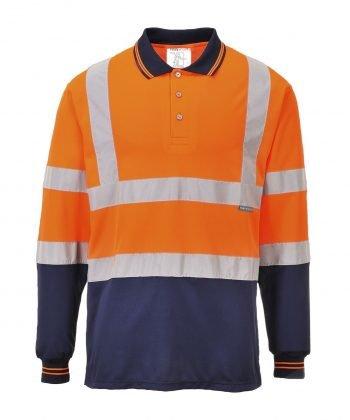 Portwest Hi Vis Orange/Navy Long Sleeve Polo Shirt S279