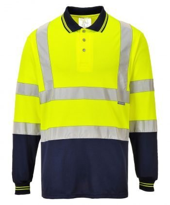 PPG Workwear Portwest Hi Vis Yellow/Navy Long Sleeve Polo Shirt S279