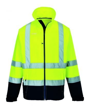 Portwest Hi Vis Contrast Softshell Jacket S425 Yellow and Navy Blue Colour