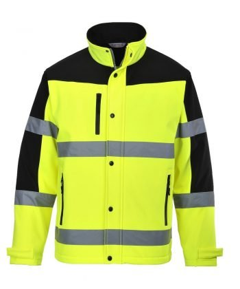 Portwest Hi Vis Two Tone Softshell Jacket S429 Yellow and Black Colour