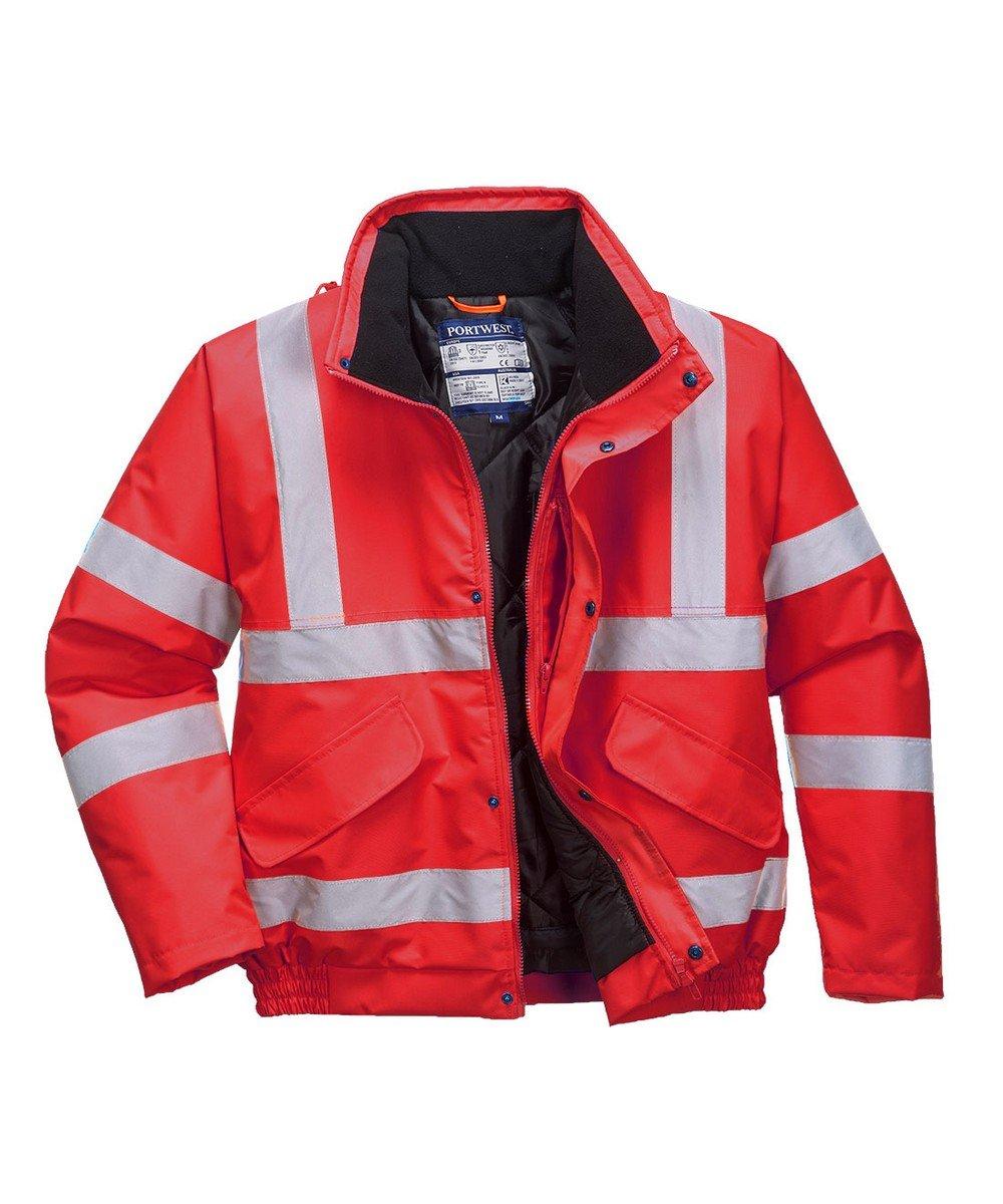 Portwest Red Hi Vis Bomber Jacket S463 Red Colour