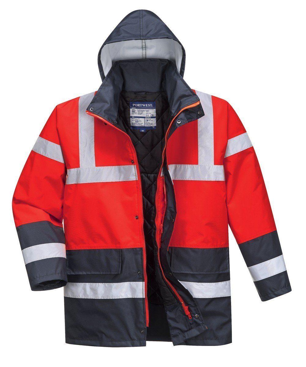 PPG Workwear Portwest Red/Navy Hi Vis Contrast Traffic Jacket S466