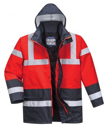PPG Workwear Portwest Red/Navy Hi Vis Contrast Traffic Jacket S466