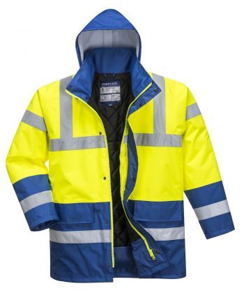 PPG Workwear Portwest Yellow/Royal Hi Vis Contrast Traffic Jacket S466