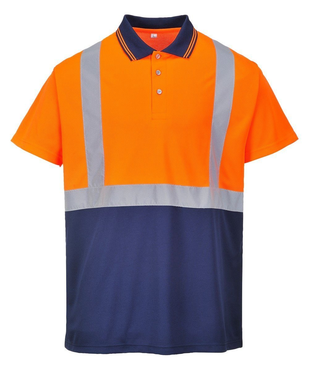 PPG Workwear Portwest Hi Vis Orange and Navy Blue Colour Two Tone Polo Shirt S479