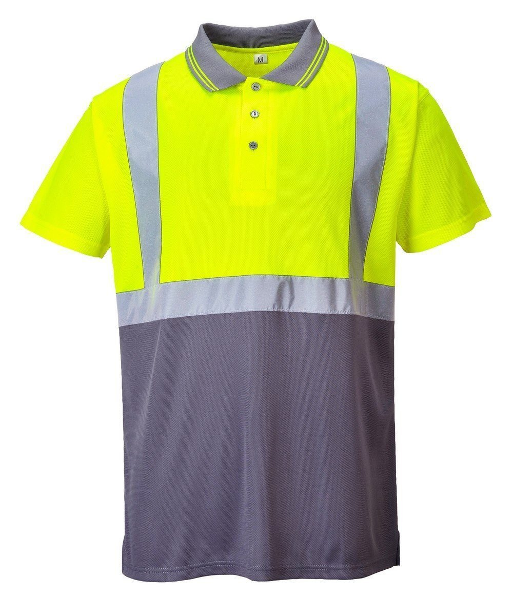 Portwest Hi Vis Yellow and Grey Colour Two Tone Polo Shirt S479