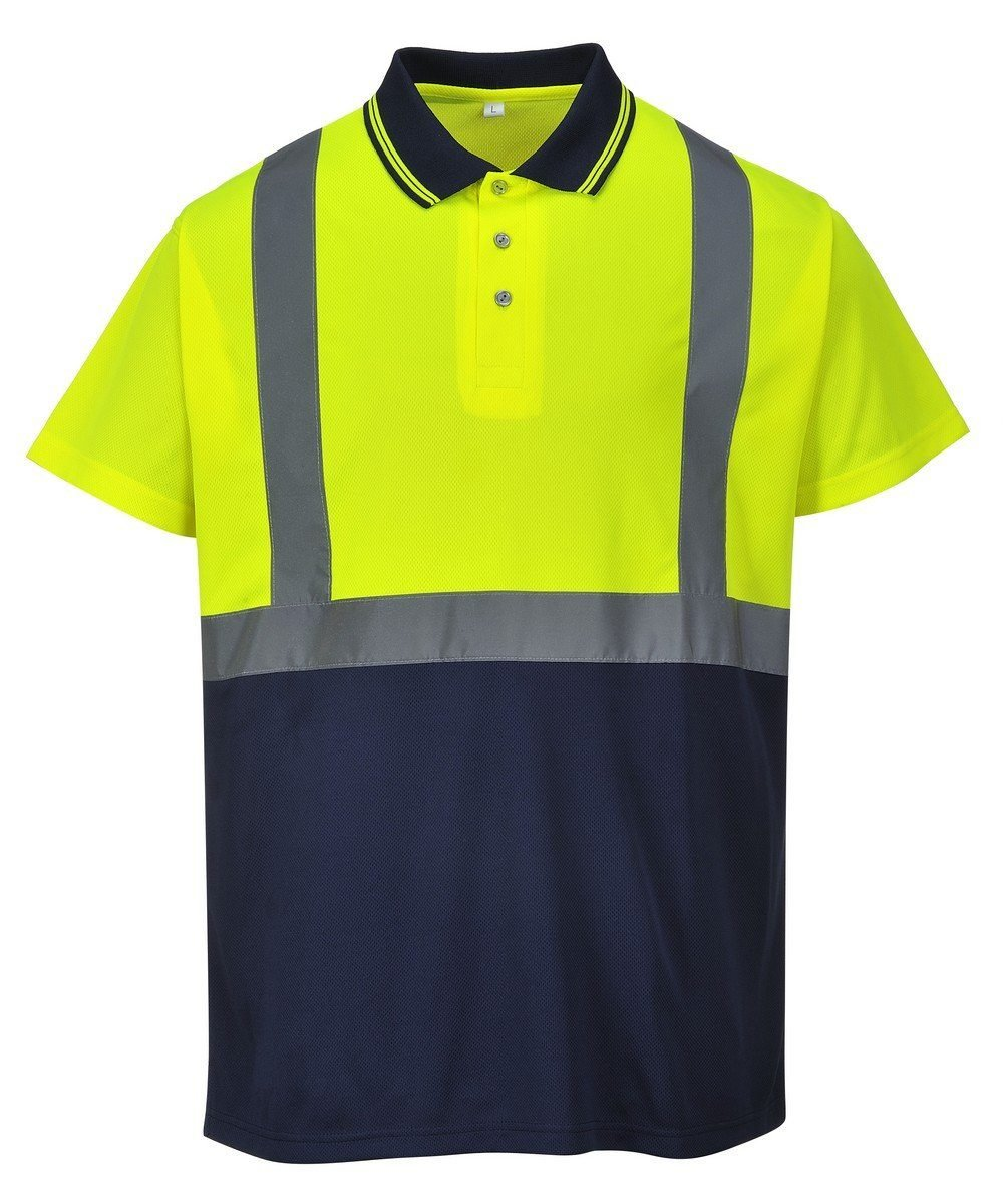 Portwest Hi Vis Yellow and Navy Blue Colour Two Tone Polo Shirt S479