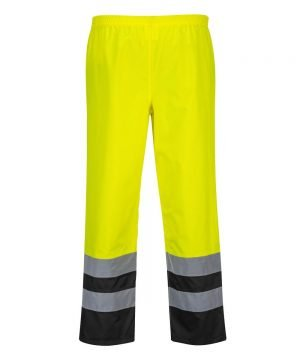 Portwest Hi-Vis Two Tone Traffic Trouser Yellow and Black Colour S486