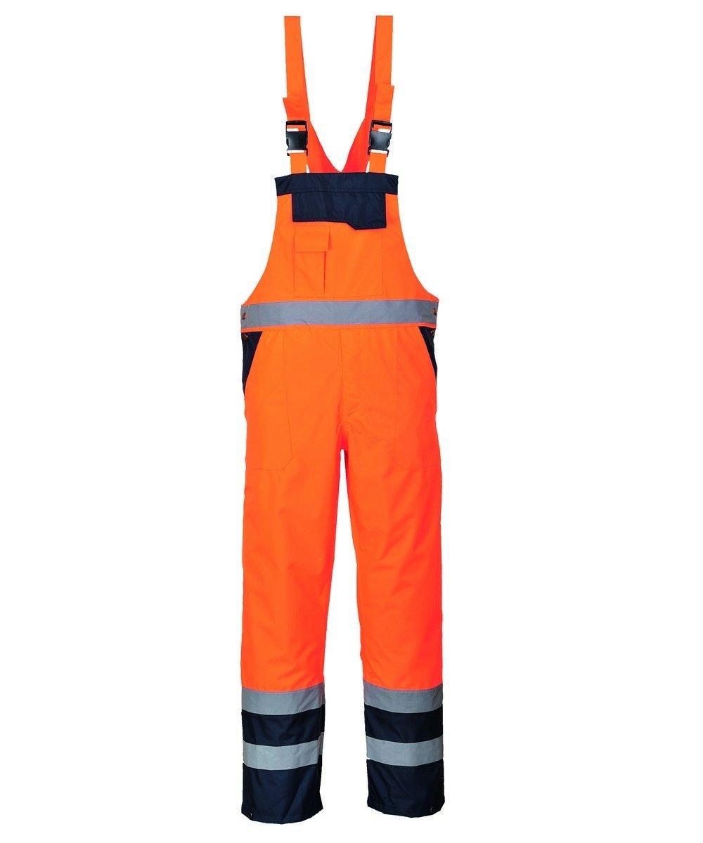 Portwest Waterproof Contrast Bib/Brace Lined Orange and Navy Colour S489