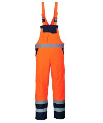 Portwest Waterproof Contrast Bib/Brace Lined Orange and Navy Colour S489